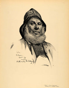 1908 Print John Lead Pencil Drawing Fisherman Beard Art ORIGINAL HISTORIC INS3