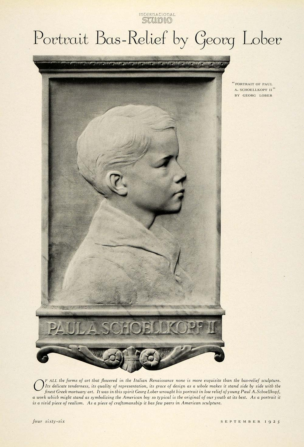 1925 Print Sculptor Georg Lober Paul Schoellkopf Grave Stone Marble INS3