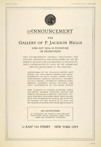 1925 Ad Jackson Higgs Ancient Art Gallery Viewing Da Vinci Rembrandt INS3