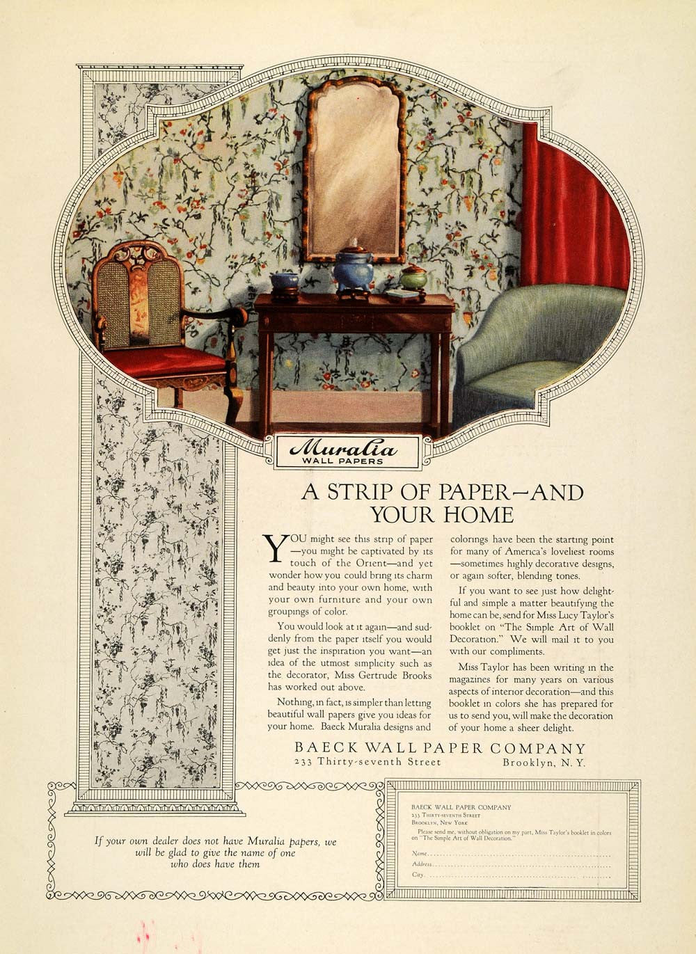 1925 Ad Baeck Wall Paper Home Decor Oriental Floral Pattern Interior Design Ins3