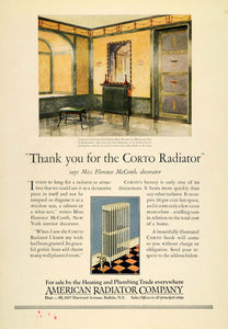 1925 Ad American Corto Radiators Heating Home Florence McComb Interior INS3