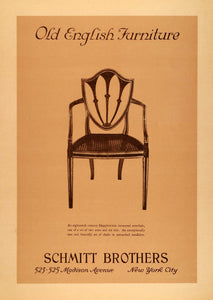 1925 Ad Schmitt Brothers Old English Furniture Wooden Hepplewhite Armchair INS3