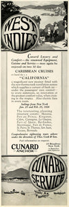 1925 Ad Cunard Anchor Cruise Lines West Indies Caribbean Tropic S. S INS3