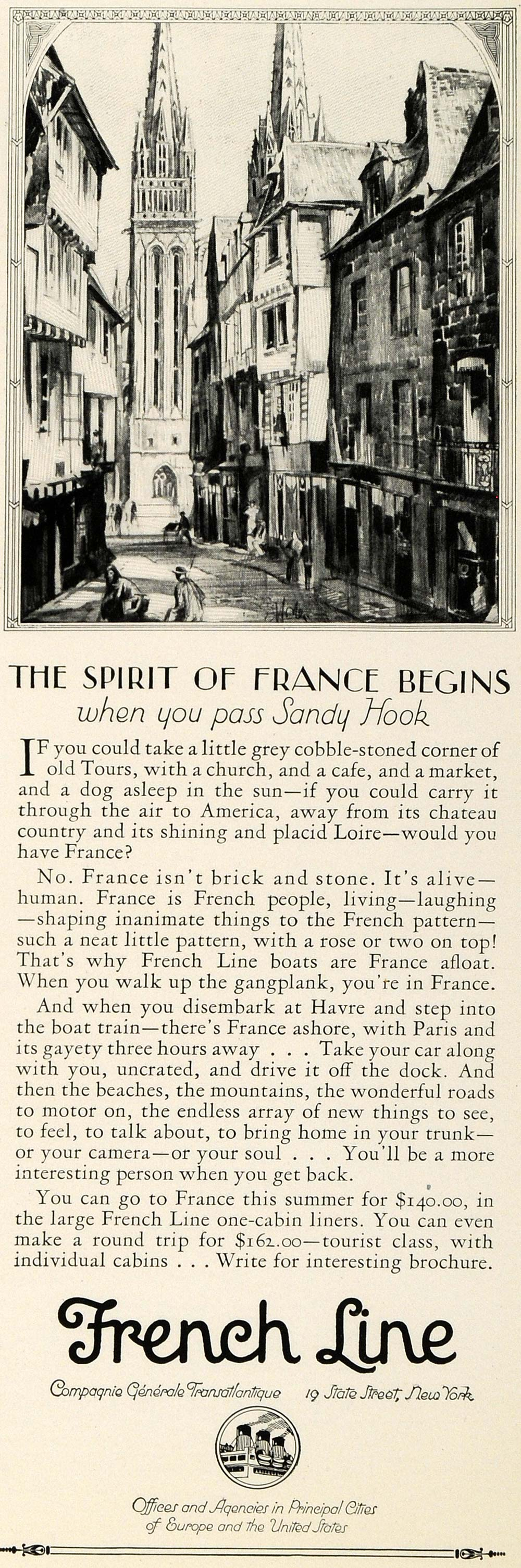 1925 Ad French Line Cruises France Travel Streets Cathedral Loire Havre INS3