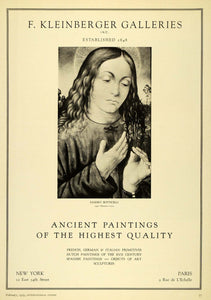 1929 Ad F Kleinberger Art Galleries Sandro Botticelli Portrait Religious INS3
