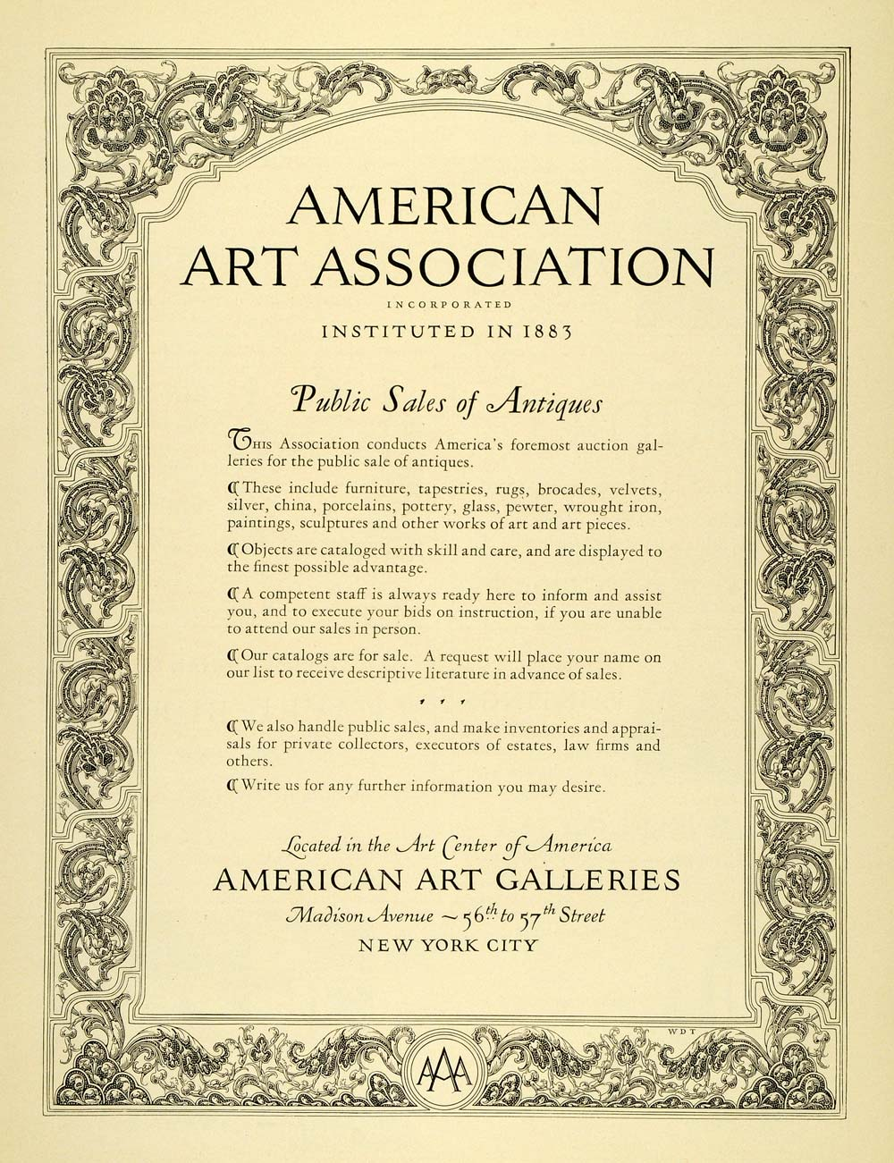 1929 Ad American Art ociation Antiques Sale New York Furniture Home Home Furniture Sale Paper on farmers furniture sales paper, big lots sale paper, badcock furniture sales paper,