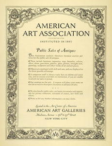 1929 Ad American Art Association Antiques Sale New York Furniture Home INS3