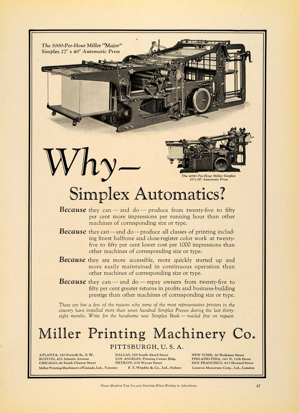 1930 Ad Miller Printing Machinery Co. Automatic Press - ORIGINAL IPR1