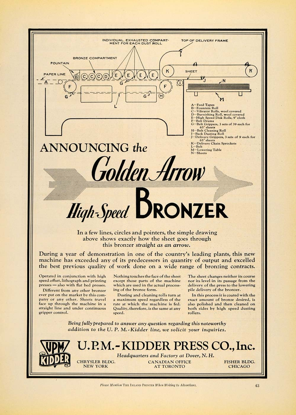 1930 Ad UPM Kidder Press Co Golden Arrow Bronzer NY - ORIGINAL ADVERTISING IPR1