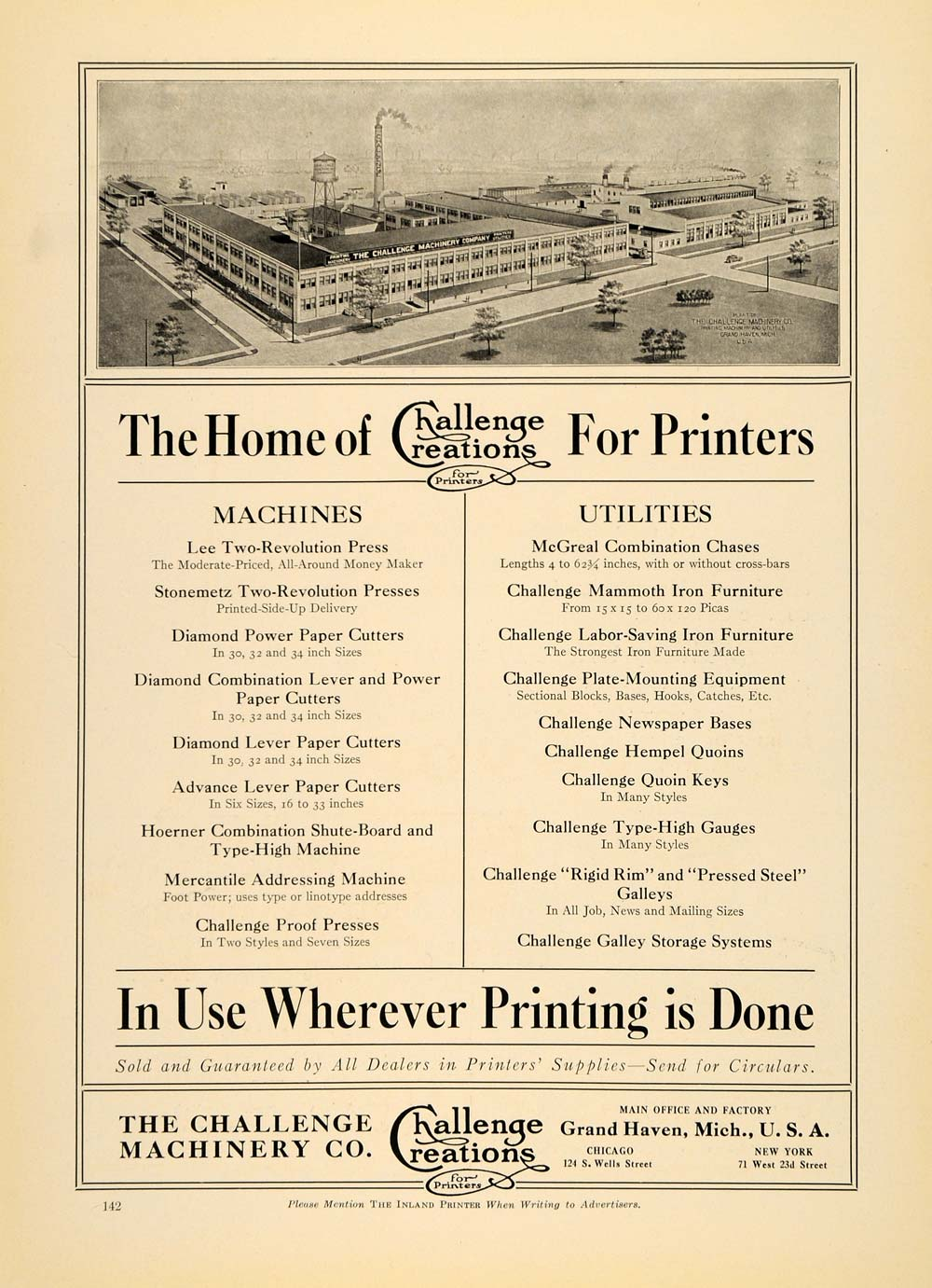 1920 Ad Challenge Machinery Co. Creations Printer Plant - ORIGINAL IPR1