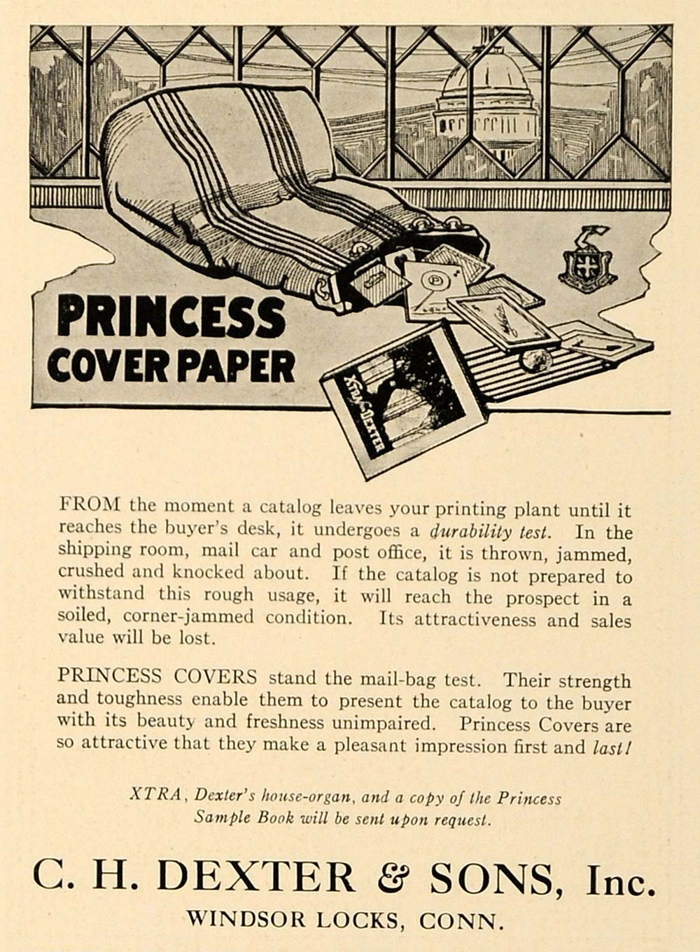 1920 Ad Princess Covering Papers Durability Dexter Sons - ORIGINAL IPR1