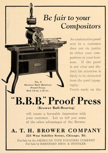 1922 Ad Brower Ball-Bearing Proof Press Typography Type - ORIGINAL IPR1