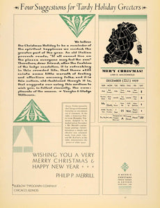1930 Print Holiday Christmas Tardy Greeting Card Season - ORIGINAL IPR1
