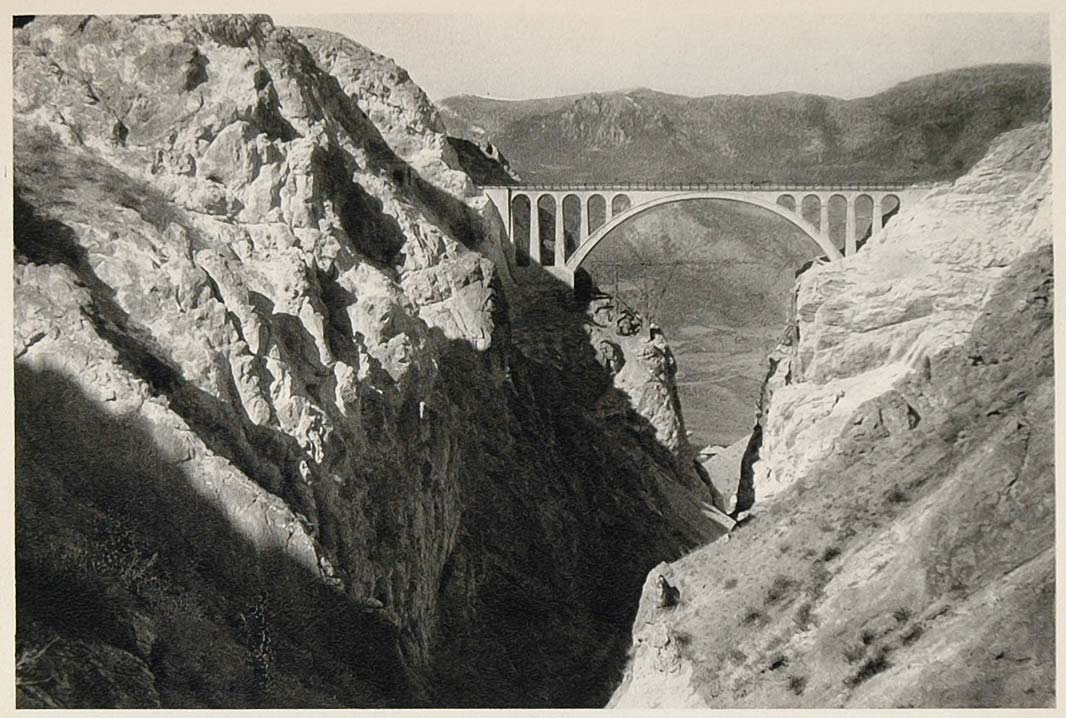 1937 Bridge Abbasabad Alborz Mountains Northern Iran - ORIGINAL PHOTOGRAVURE IR1