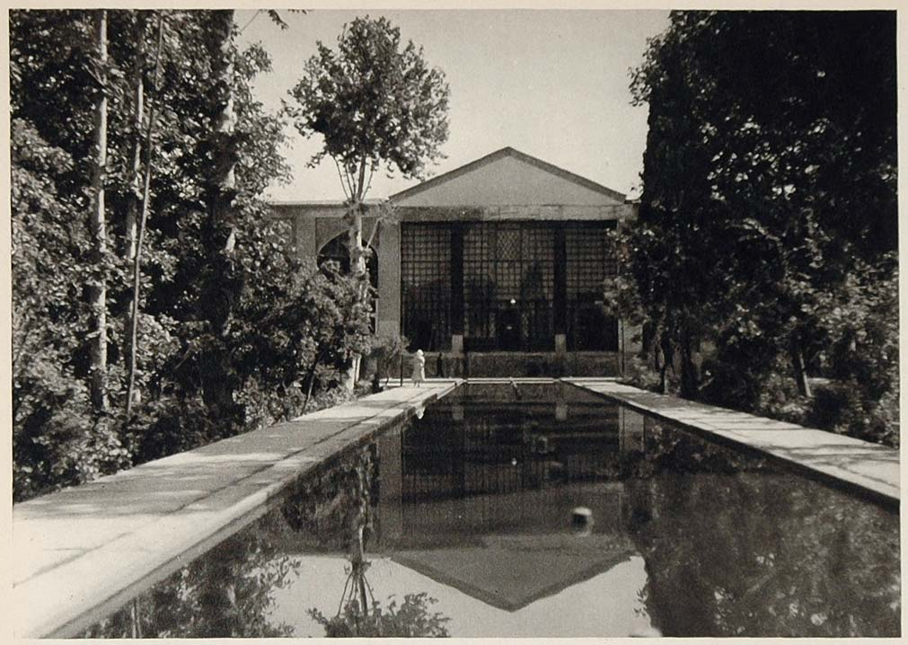 1937 Post Office Building Gardens Shiraz Iran Persia - ORIGINAL PHOTOGRAVURE IR1