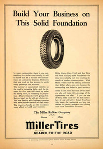 1925 Advert Miller Tires Rubber Akron Ohio Cord Wheel Automotive Parts IRR1