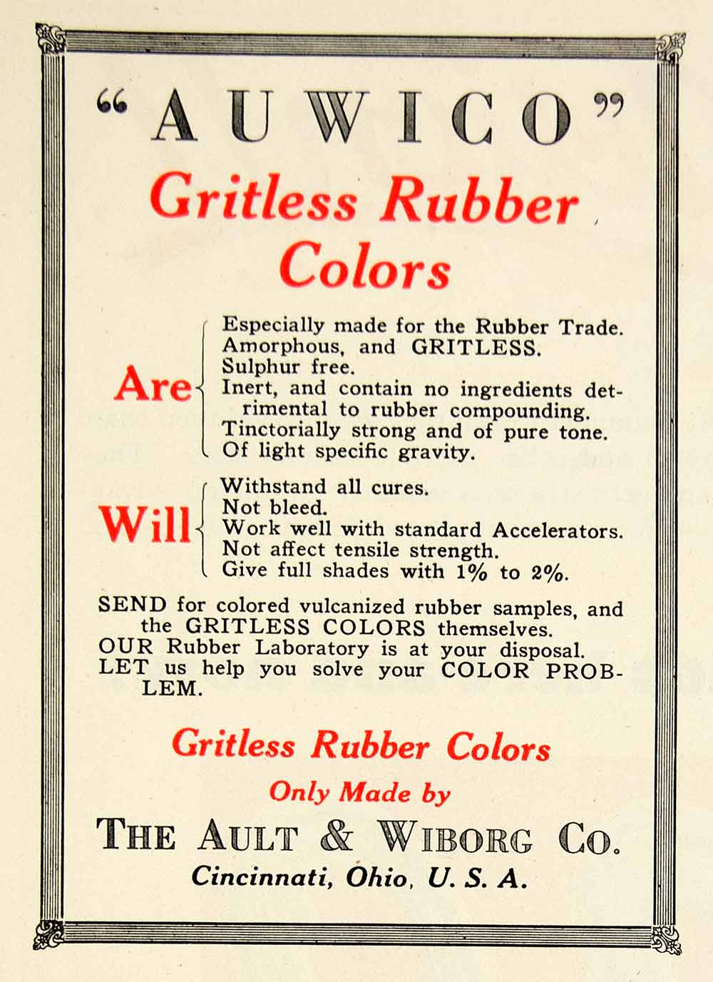 1925 Advert Auwico Gritless Rubber Colors Ault Wiborg Cincinnati Ohio IRR1