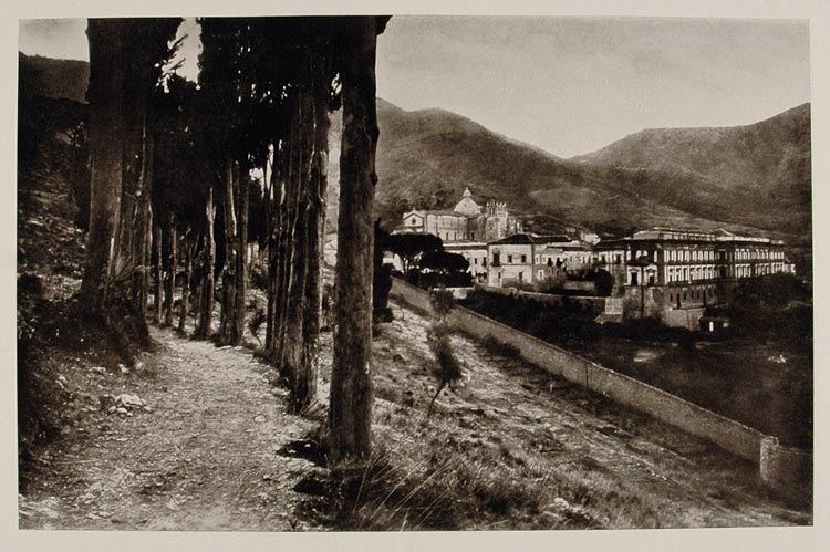 1926 San Martino Benedictine Abbey Palermo Sicily Print - ORIGINAL IS1