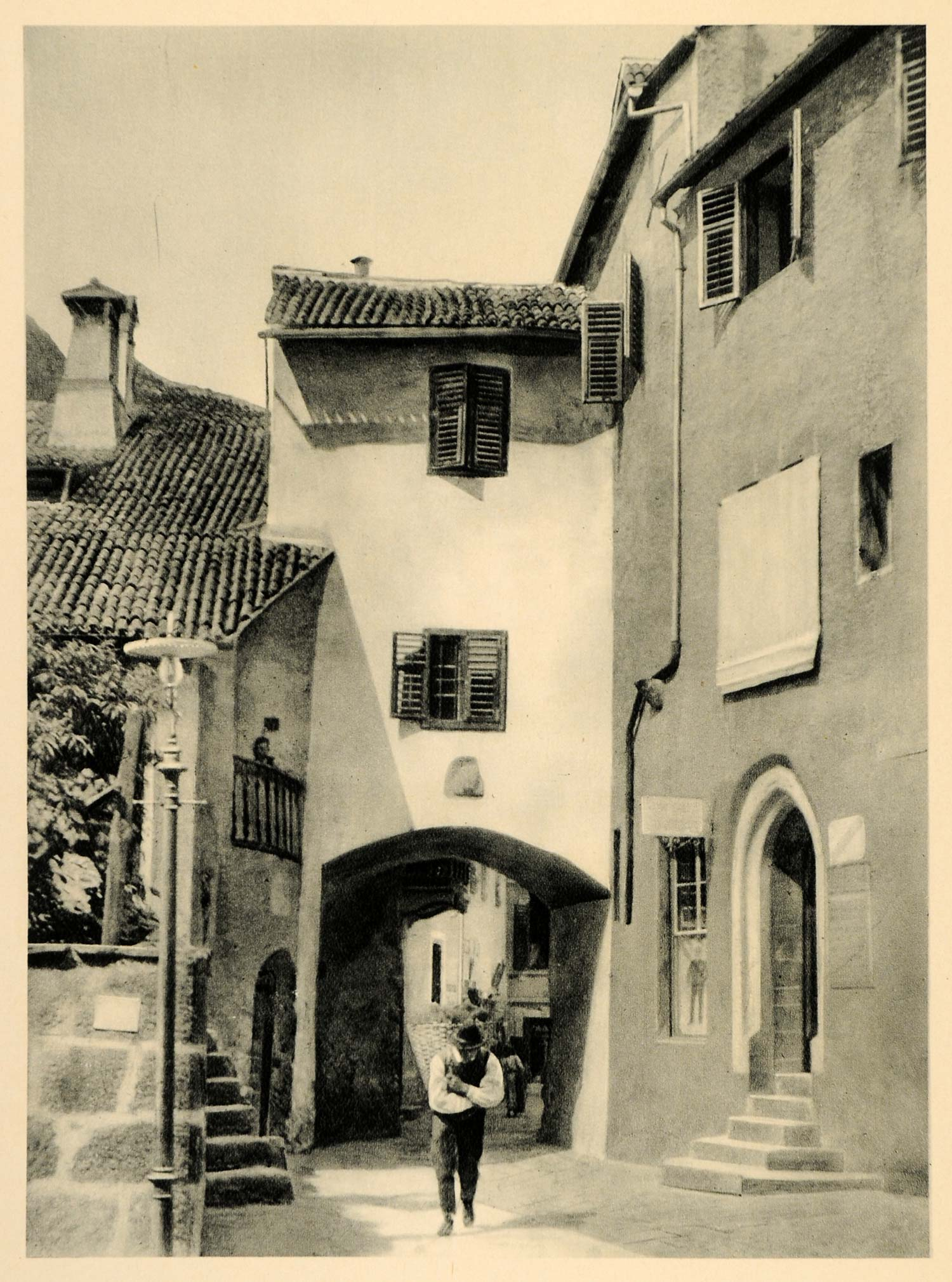 1927 Merano Italy Town Street Buildings Architecture - ORIGINAL PHOTOGRAVURE IT3