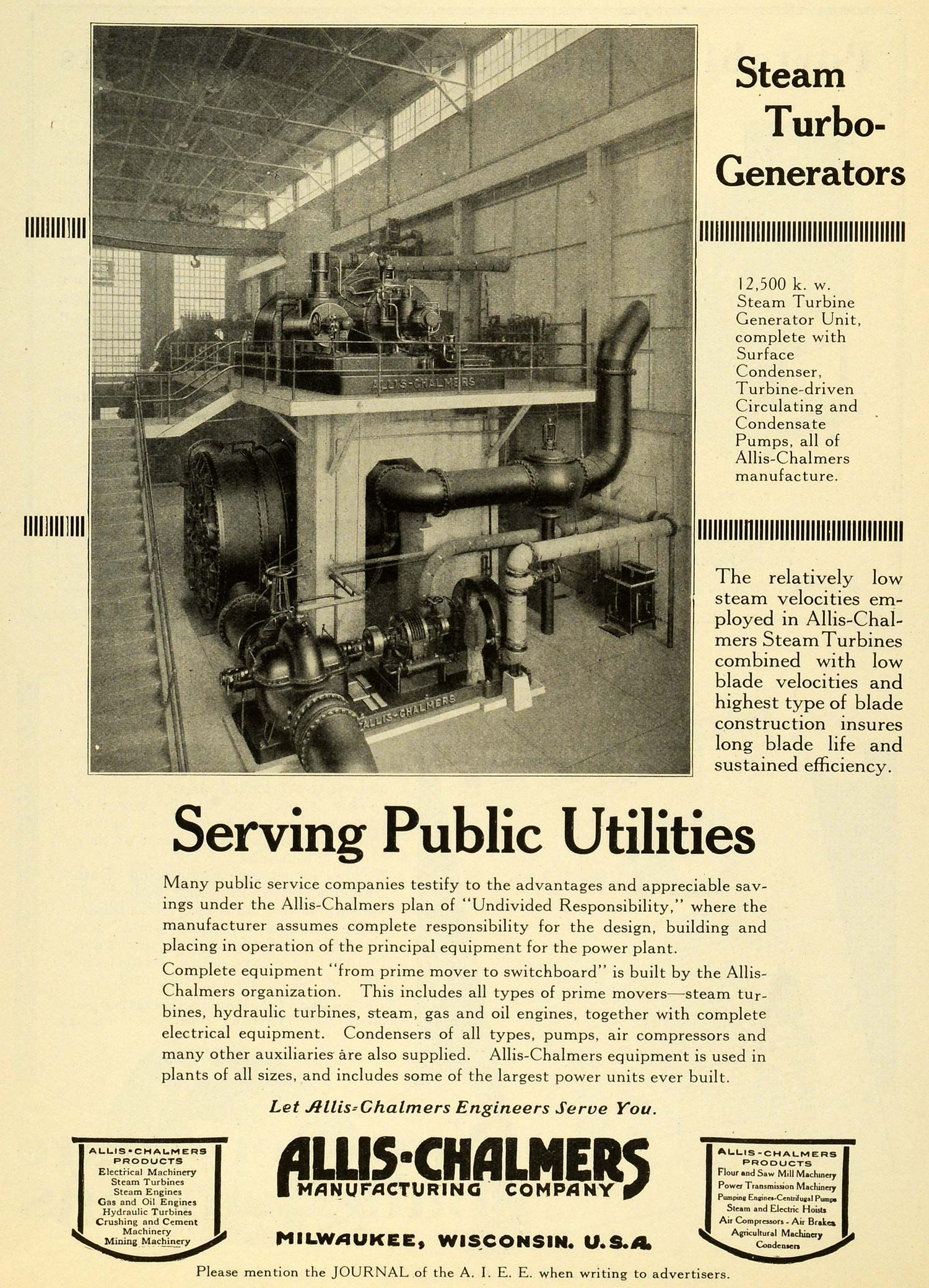 1923 Ad Steam Turbo Generators Condenser Allis-Chalmers Mfg Co Milwaukee WI JEE1