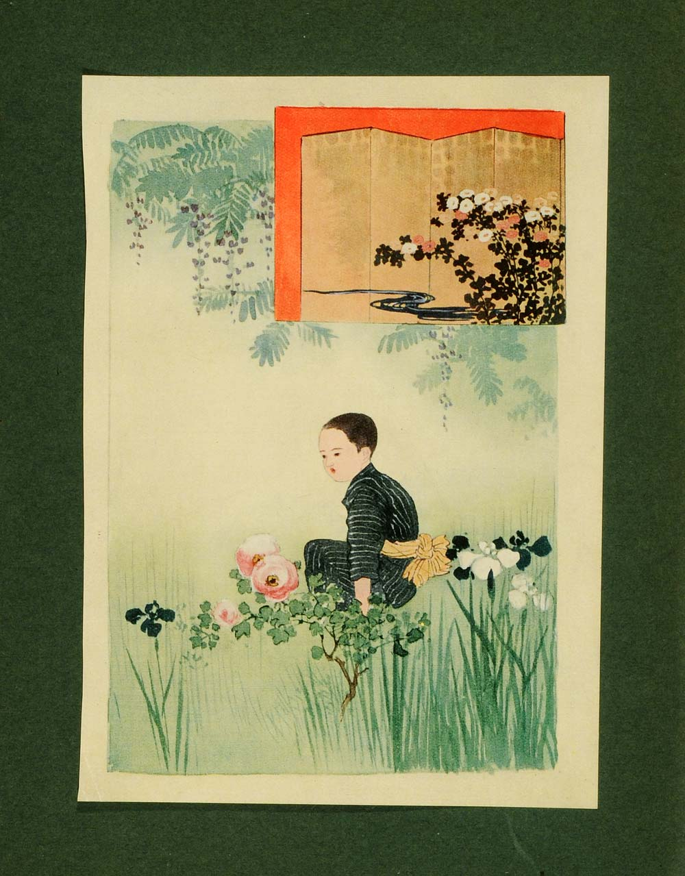 1913 Tipped-In Print Fadeless Flowers Japanese Child Botanical Fenollosa Art JG2