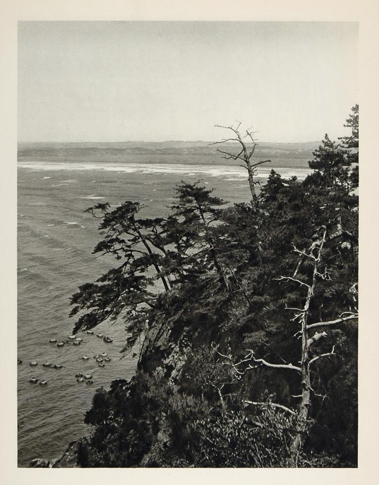 1930 Shoreline Coast Coastline Enoshima Island Japan - ORIGINAL PHOTOGRAVURE JK1
