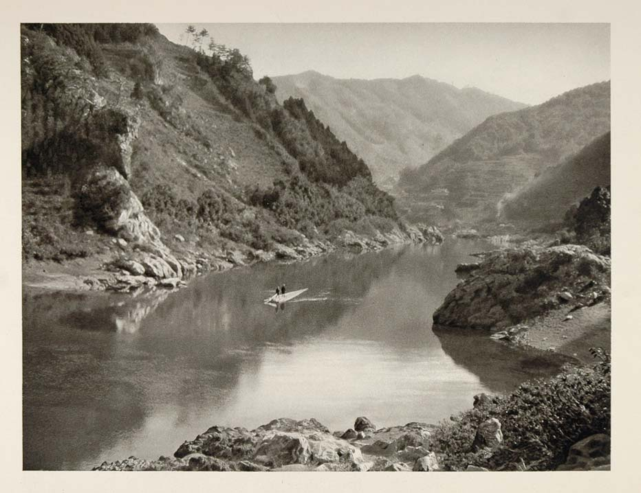 1930 Japanese Bamboo Raft Kuma River Japan Landscape - ORIGINAL PHOTOGRAVURE JK1