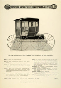 1912 Ad Luthy Red Cross Livery Storm Top Horse Buggy Peoria Antique LAC2