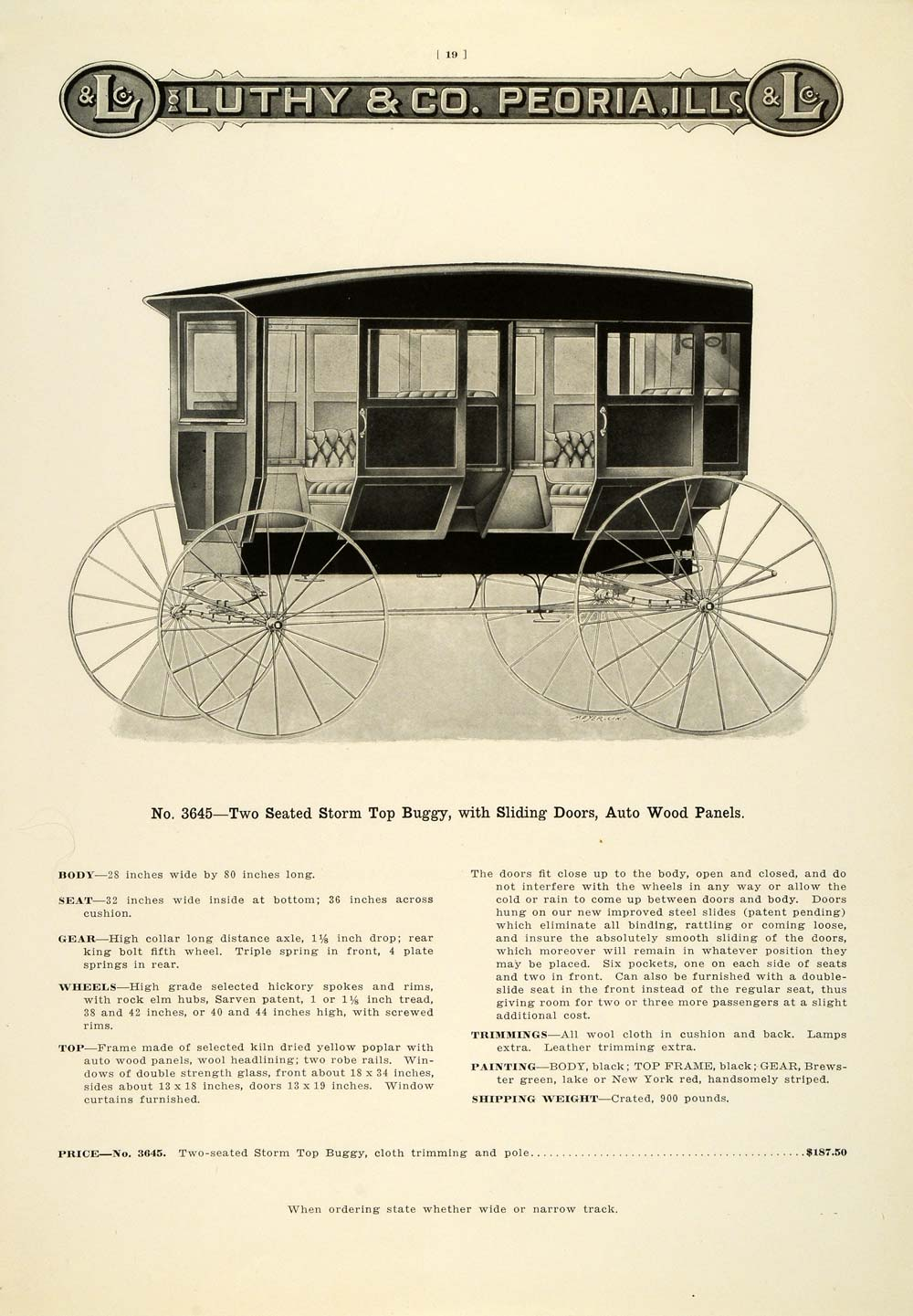 1912 Ad Antique Luthy Two-Seat Enclosed Horse Buggy Peoria IL Carriage LAC2