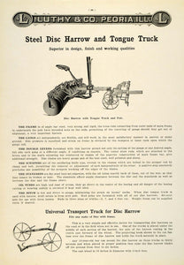 1912 Ad Antique Steel Disc Harrow Tongue Truck Farm Implement Luthy Peoria LAC2