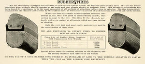 1912 Ad Antique Rubber Tires Vehicle Wheels Tread Price List Luthy Peoria LAC2