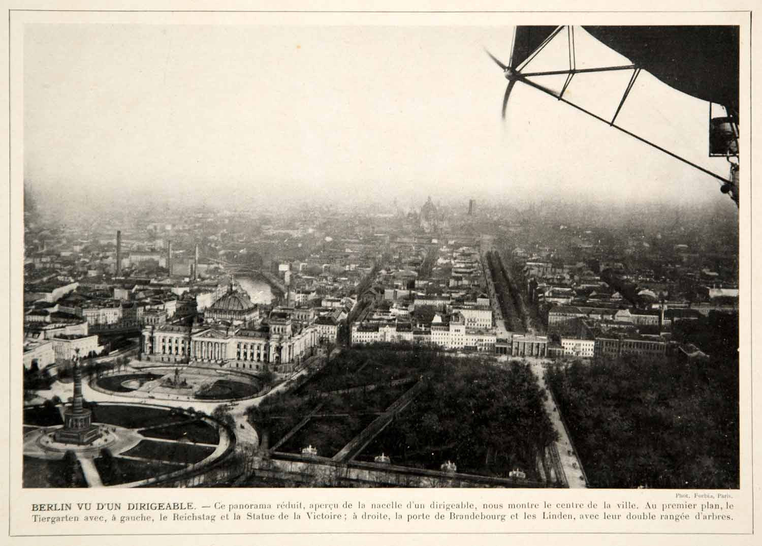 1913 Print Berlin Germany Cityscape Aerial Bird's Eye View Dirigible Historic