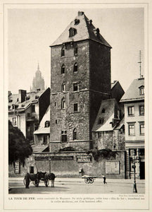 1913 Print Mainz Iron Tower Eisenturm Gothic Medieval City Wall Gate Germany