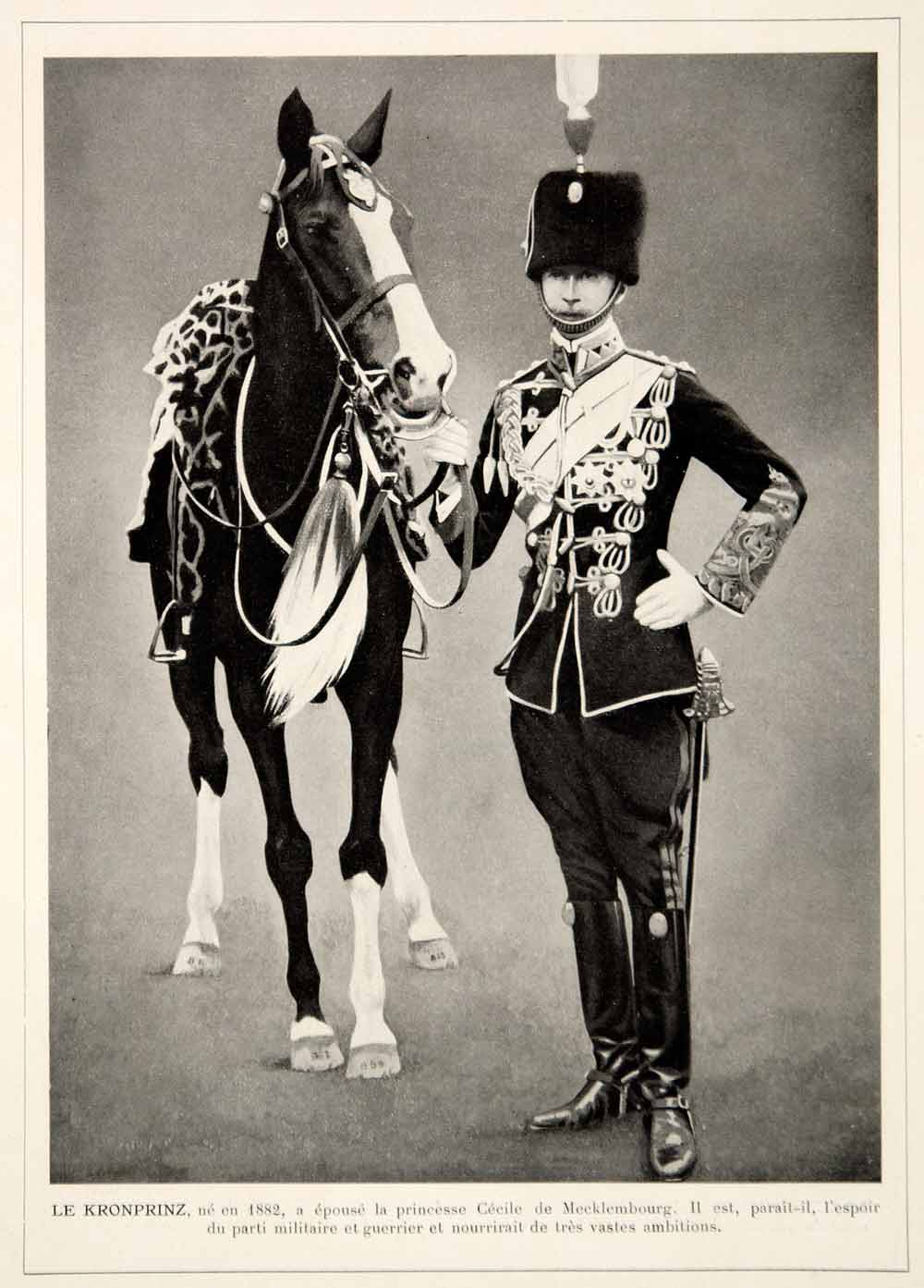 1913 Print German Crown Prince Wilhelm Kronprinz Germany Military Uniform Horse