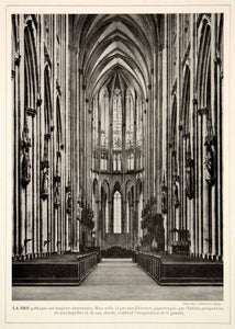 1913 Print Cologne Cathedral Nave Kolner Dom Hohe Domkirche St. Petrus Germany