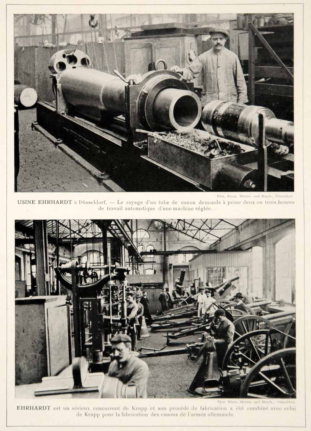 1913 Print Ehrhardt Munitions Factory Dusseldorf Germany German Manufacturing
