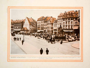 1913 Color Print Mainz Germany Cityscape Marketplace German City Architecture