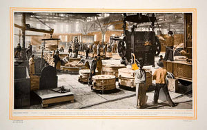 1913 Color Print Krupp AG German Steel Foundry Factory Mill Workers Germany Arms