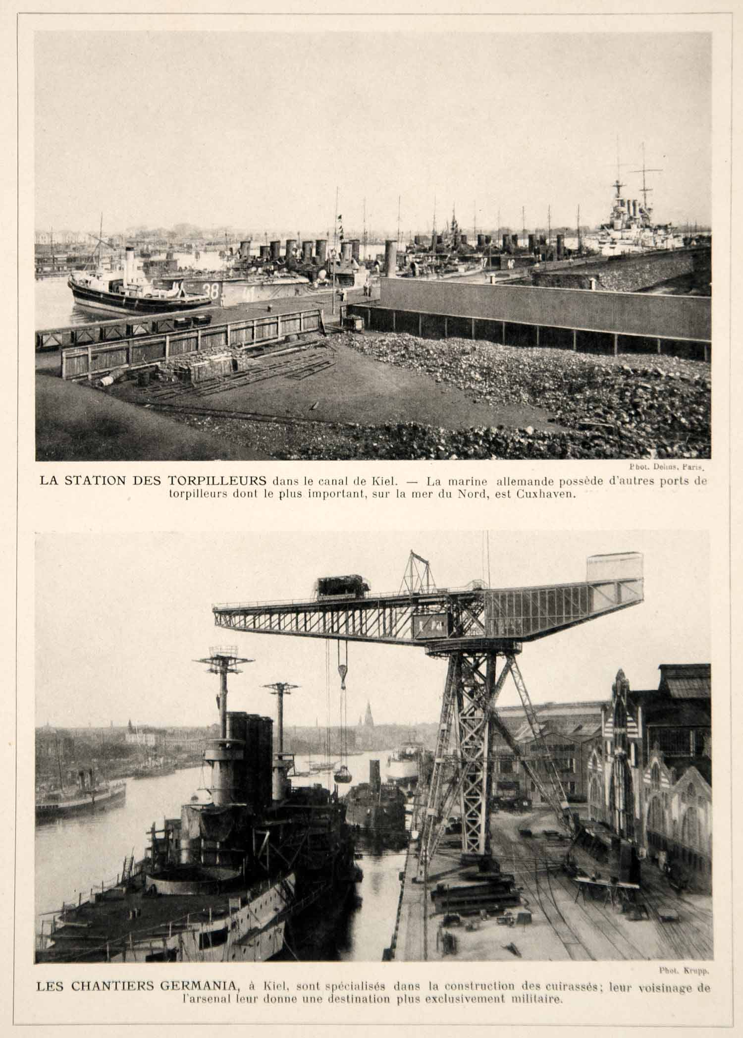 1914 Print Kiel Canal Germany German Navel Base Torpedo Boats Battleships Navy
