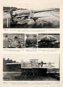 1914 Print Krupp Guns Canon German Artillery Armaments Kiel Germany Historic