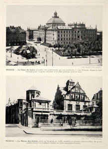 1914 Print Munich Justizpalast Palace of Justice Munchner Kunstlerhaus Germany