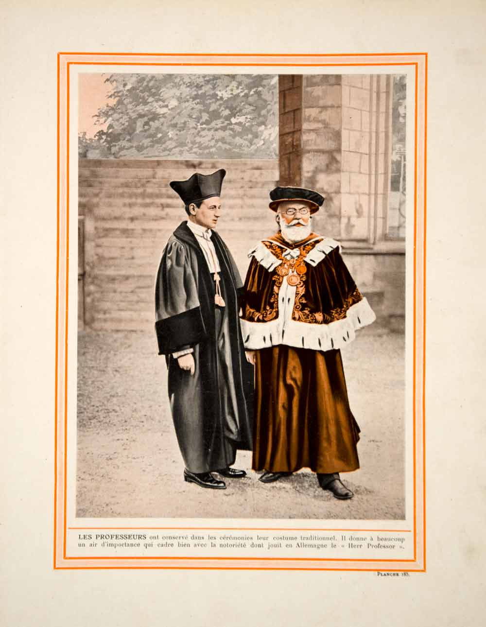 1914 Color Print German Professors Academic Dress Talar Robes Gown Traditional
