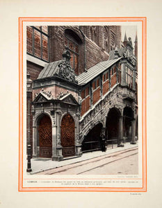1914 Color Print Lubecker Rathaus Staircase Stairs Lubeck Germany Architecture