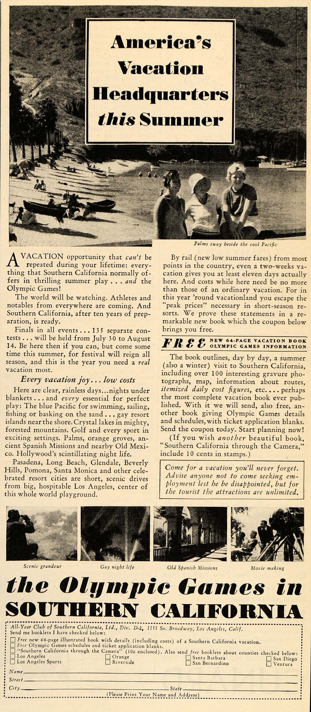 1932 Ad Southern California Travel Summer Olympic Games - ORIGINAL LD1