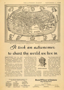 1930 Ad Rand McNally Ptolemy World Map 1482 Cartography - ORIGINAL LD1