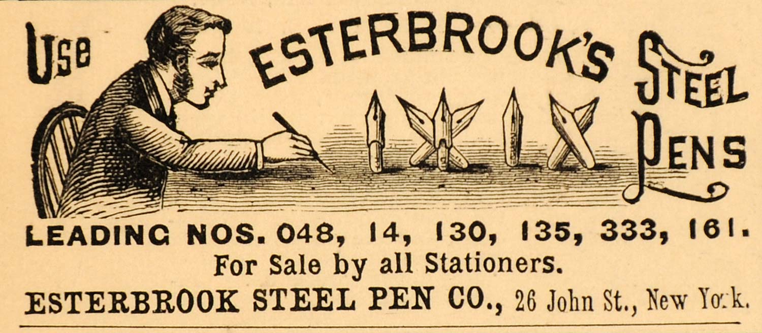 1885 Ad Esterbrook Steel Pens Company Ink Writing Tips - ORIGINAL LF2