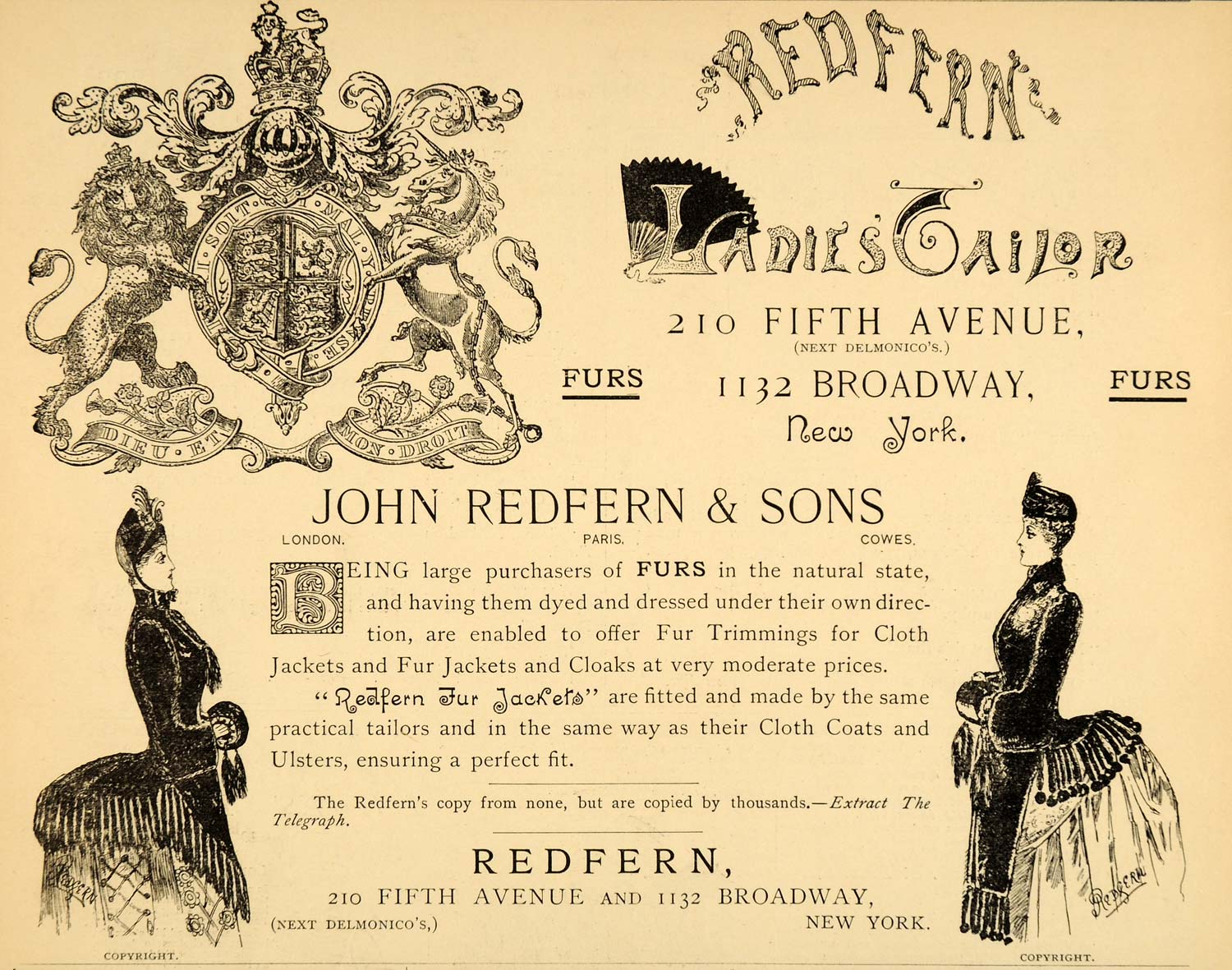 1885 Ad John Redfern Furs Ladies Tailor Clothing Store - ORIGINAL LF2