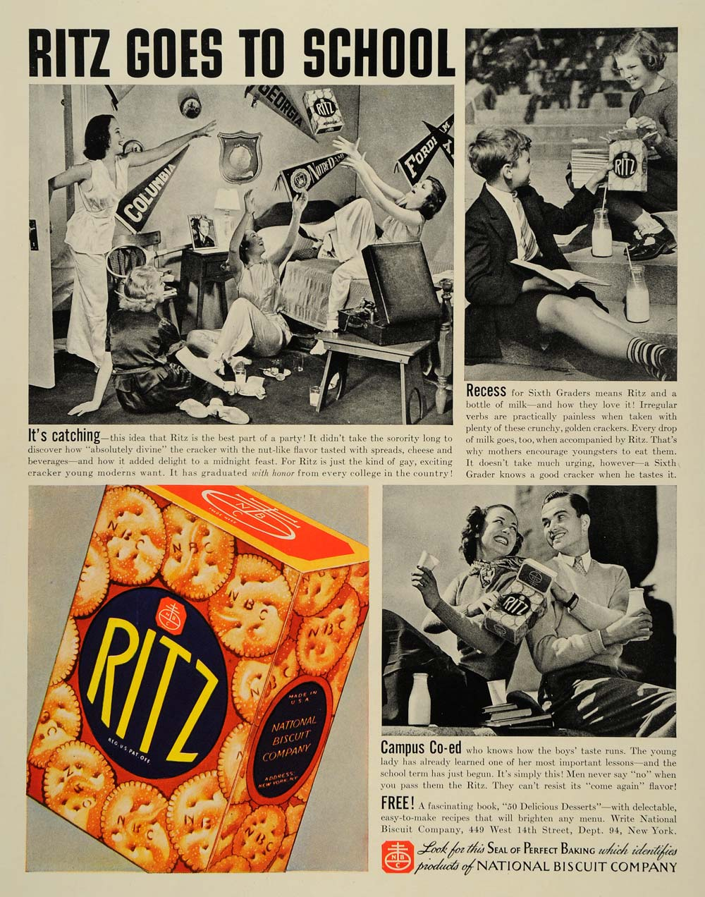 1937 Ad Ritz Crackers National Biscuit Campus Children - ORIGINAL LF3