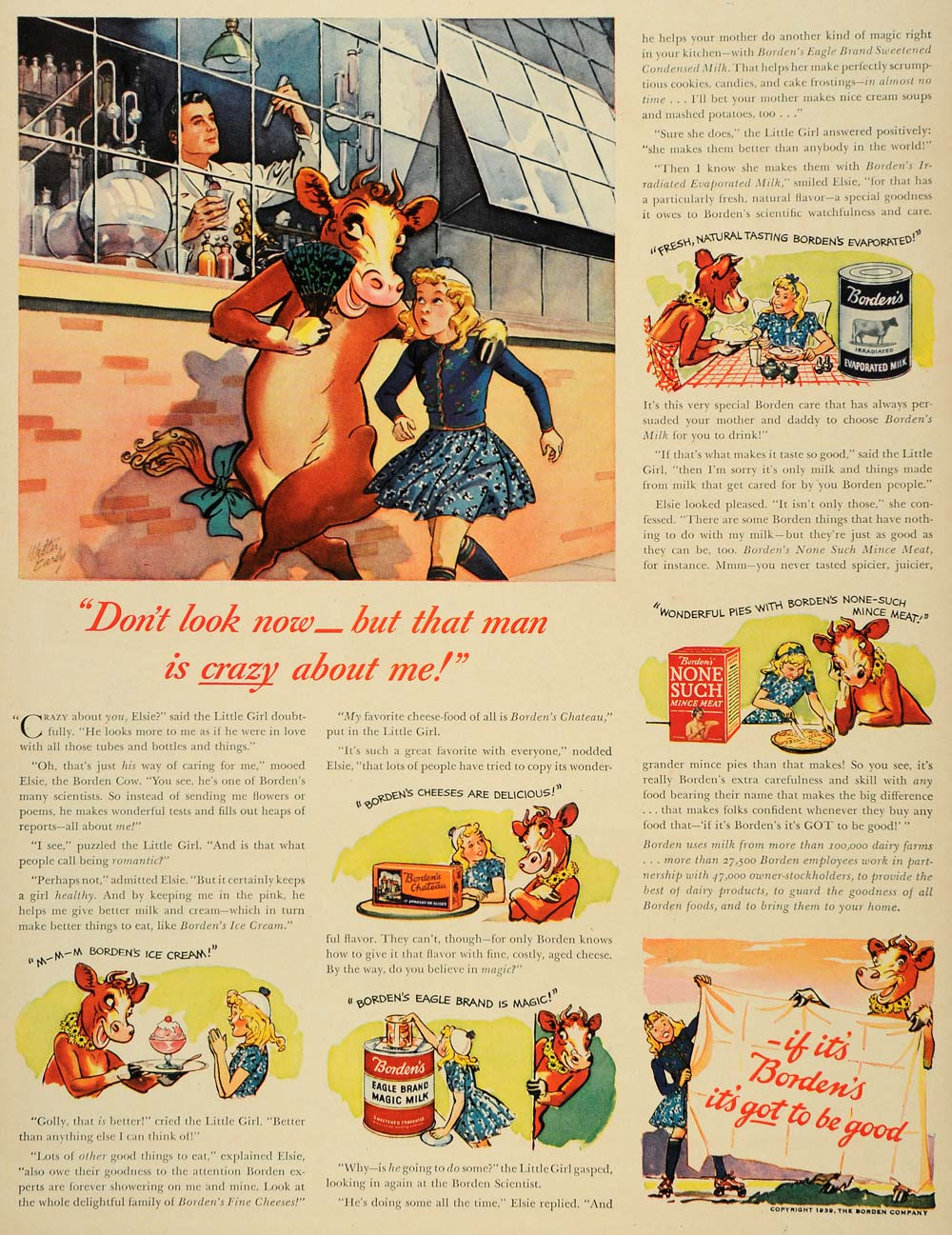 1939 Ad Borden Cheese Milk Ice Cream Mince Meat Cow Art - ORIGINAL LF3