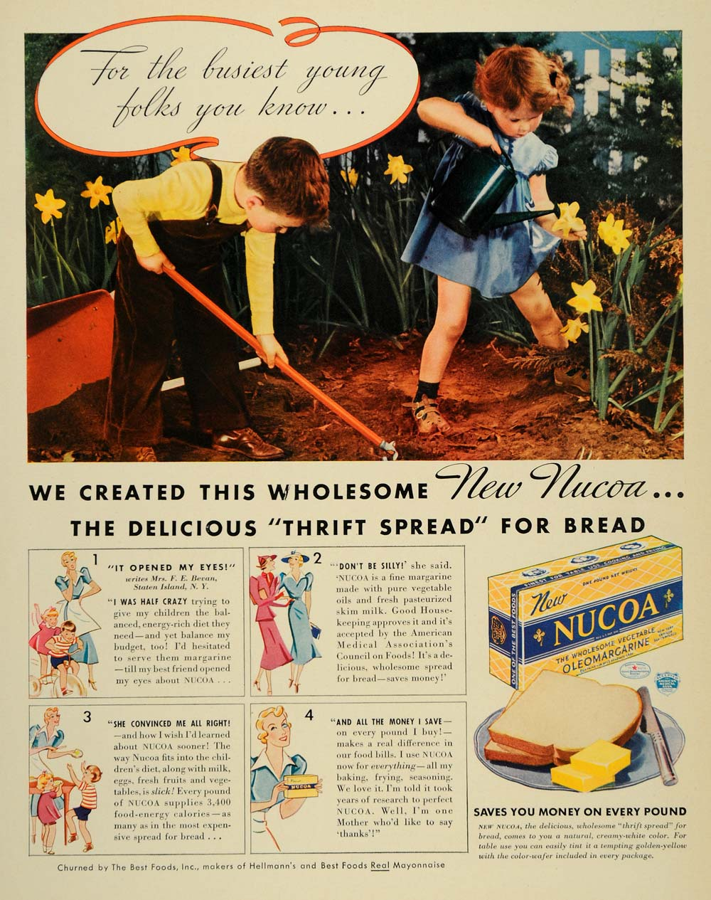 1937 Ad Nucoa Vegetable Oleomargarine Spread Bread Mayo - ORIGINAL LF3